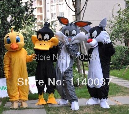 Талисман утка Кролик кошка костюм талисмана обычай нарядное платье косплей комплекты Mascotte Характер карнавальный костюм праздничный костю