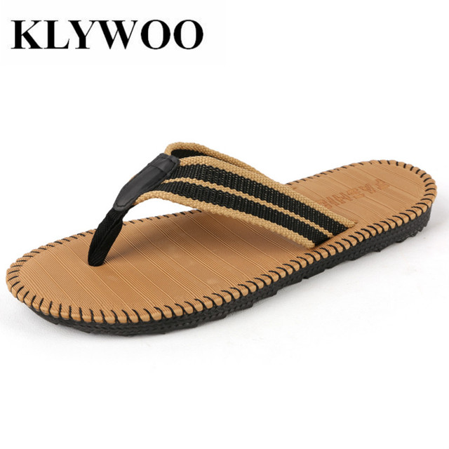 1a63b9defec99a KLYWOO Fashiion Flip Flops Men Sandals Summer Shoes For Casual Walking  Slides Beach Breathable Slides Men s Brand Designer Flats