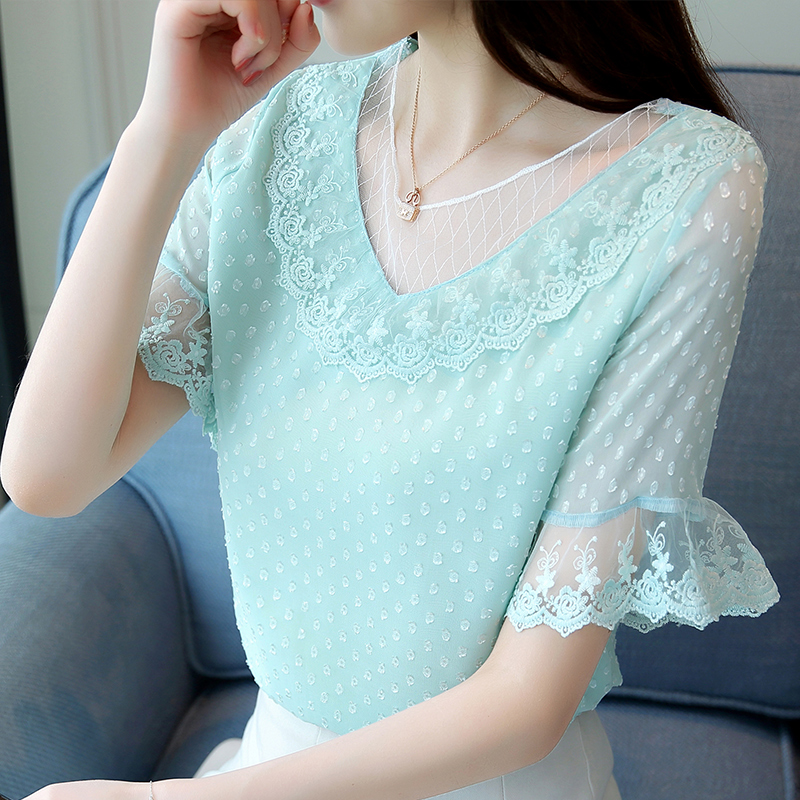 Womens Tops and Blouses Lace Chiffon Blouse off shoulder Shirts Ladies Tops Blusas Femininas Elegante Korean Fashion Clothing