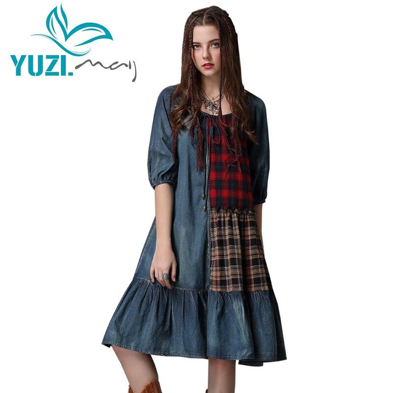 Summer Dress 2018 Yuzi may Boho New Denim Women Dresses O Neck Half Sleeve A line
