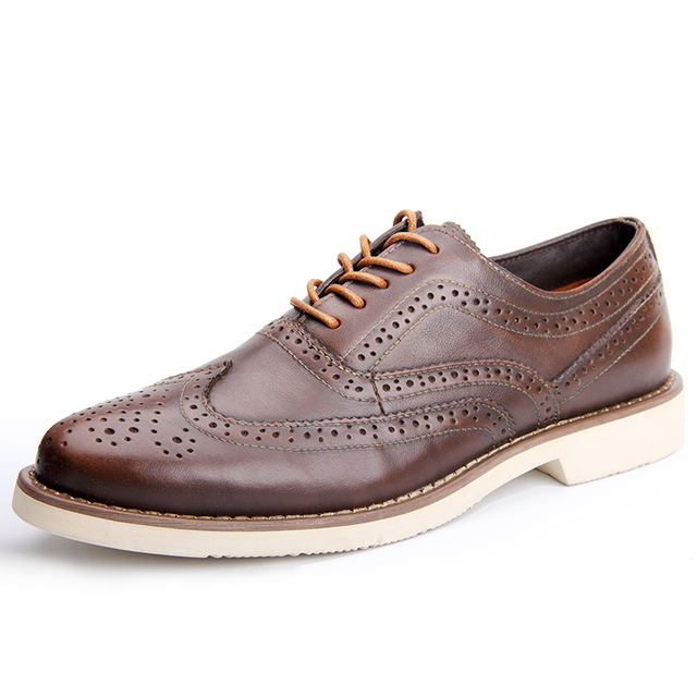Misalwa Brand Luxury Men Genuine Leather Brogue Shoes Men Oxfords High Quality Lace-Up Business Male Formal Shoes Free Shipping