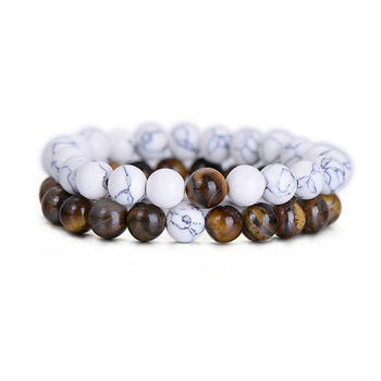 2Pcs/Set Natural Stone Fashion Distance Bracelets For Couple Tiger Eye Stone Yin Yang Buddha Strand Bracelet Men Women Jewelry
