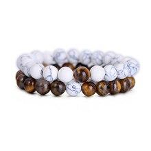 2Pcs Set Natural Stone Fashion Distance Bracelets For Couple Tiger Eye Stone