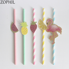 10pcs Flamingo party Paper Drinking Straws Tropical DIY Decoration Wedding Accessories Hawaii Summer Holiday
