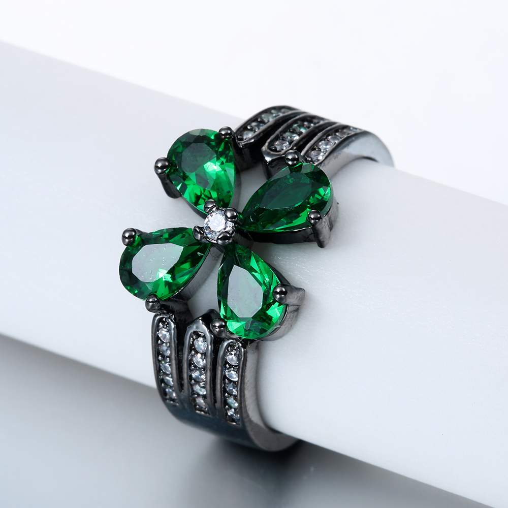 vintage black gold-color promise Rings new fashion green flower jewelry gift princess czech zircon Purity Rings Ring for women
