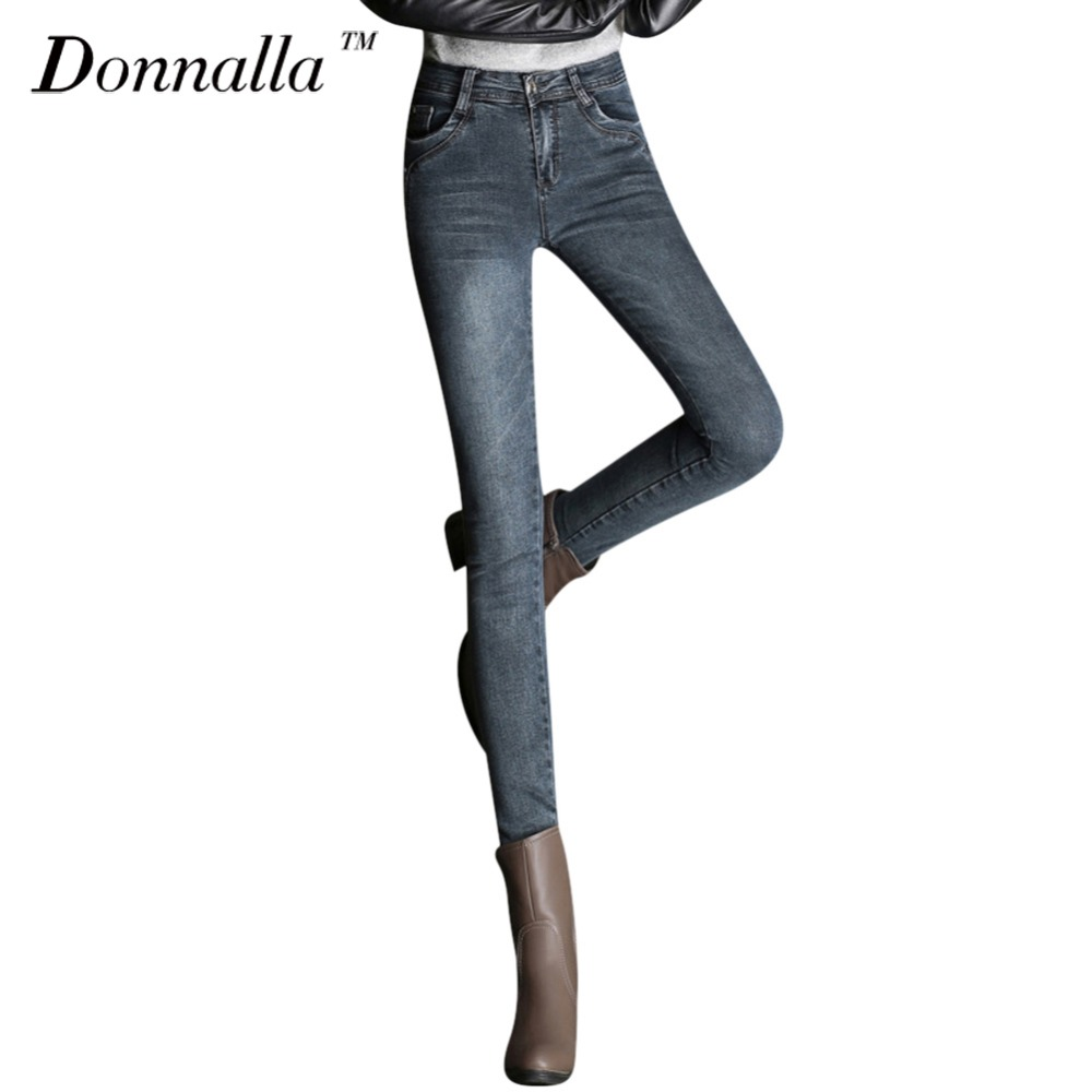 Donnalla Women Jeans 2017 Fashion Pencil Denim Jeans Stretch Sexy Skinny Pants High Quality Ankle Length 32