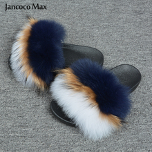 2019 New Summer Women Real Fox Fur Slippers Fashion Slides Fur Mixed Color Sandals Indoor Outdoor S6021 2019 new real fox fur slippers fashion fur sliders women shoes ladies luxury big fur slides s6021