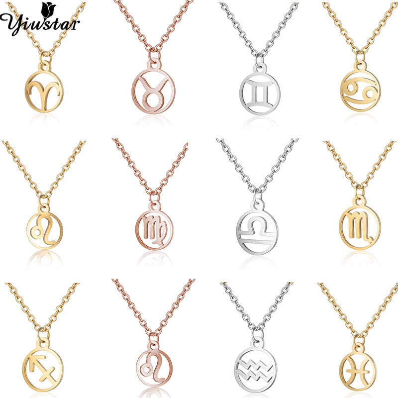 Yiustar 12 Zodiac Sign Necklace Women Girls Kids Birthday Gifts Stainless Steel 12 Constellation Choker Necklace Circle Jewelry