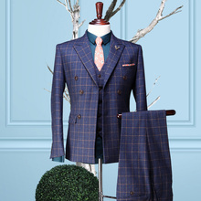 Brand clothing plaid men formal business wedding dress groom suits set men slim fit prom suits double breasted coat+vest+pant