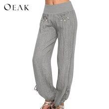 c7d728a5201 Oeak Fashion Loose Women Plus Size Trousers Solid Color Casual Loose Harem Buttons  Pants Casual Harem