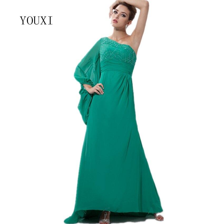 Сексуальное зеленое платье на одно плечо шифон длинный Выпускной 2019 Новое поступление халат de soiree вечерние платья