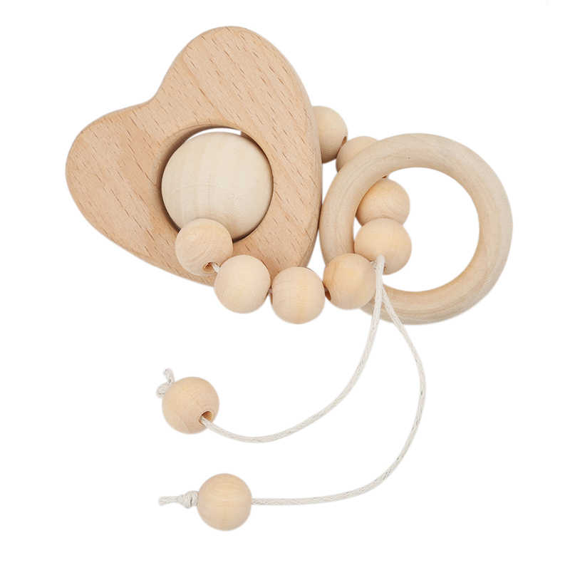 New Arrival Baby Nursing Cartoon Animal Wooden Teether Chew Beads Teething Wood Rattles Toys Teether Montessori