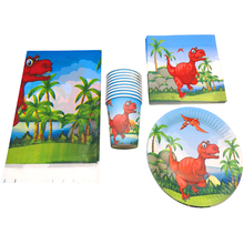 61pcs/lot Dinosaur Theme Tableware Set Decoration Napkins Cups Happy Birthday Party Baby Shower Boys Favors Plates Tablecloth