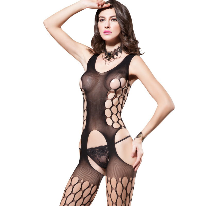 Sexy Lingerie Women Erotic Body Stocking Lace Sheer Mesh Fishnet Bodysuit Female Elasticity Open Crotch Bodydolls Bodystocking in Teddies Bodysuits from Novelty Special Use