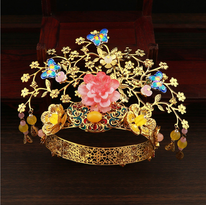 Luxury Chinese Bridal Golden Costume Headdress Vintage Hairpin Ornament Jewelry Hair Accessories 2