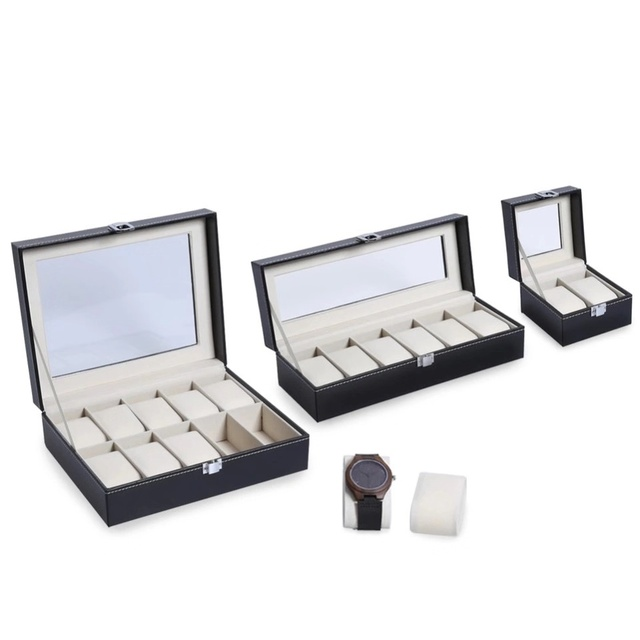 2/6/10 Grids PU Leather Watch Box Case Professional Holder Organizer for Clock Watches Jewelry Boxes Display for Dropshipping