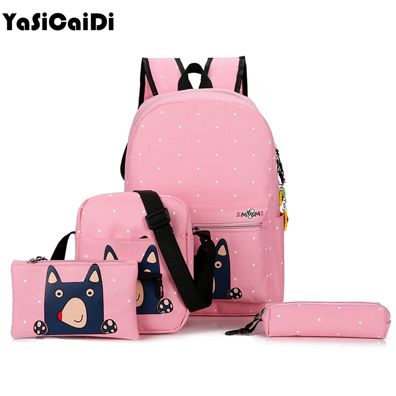 YASICAIDI 4pcs Women Canvas Backpack Cute CartoonPrinting Backpacks School Backpack For Teenager Girl Casual Travel Bag Rucksack