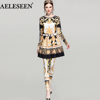 Designer Runway 3 Pieces Sets Women 2018 Spring Fashion Gold Royal Print Elastic Top Pleat Skirt