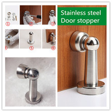 Silver stainless steel door stop soft grip magnetic wall suction bedroom hardware accessories