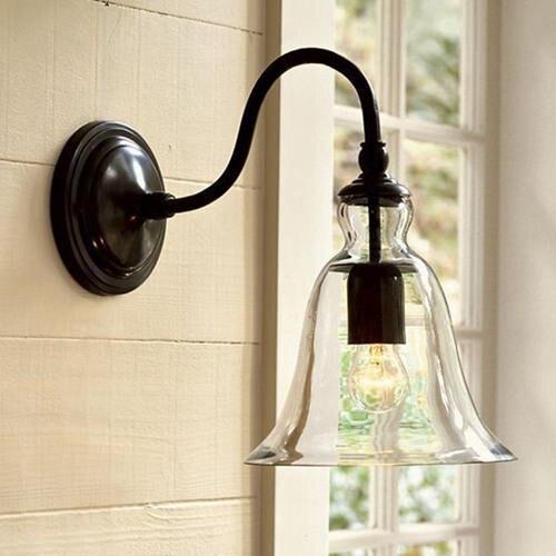 Vintage American Style Balcony Loft Crystal Bell Wall Lamp