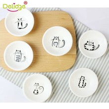 Delidge 6pcs Cute Cat Ceramic Plate Pigments Ceramics Soy Dish Kitchen Sauce Vinegar Jam Dishes Small Tableware Tool