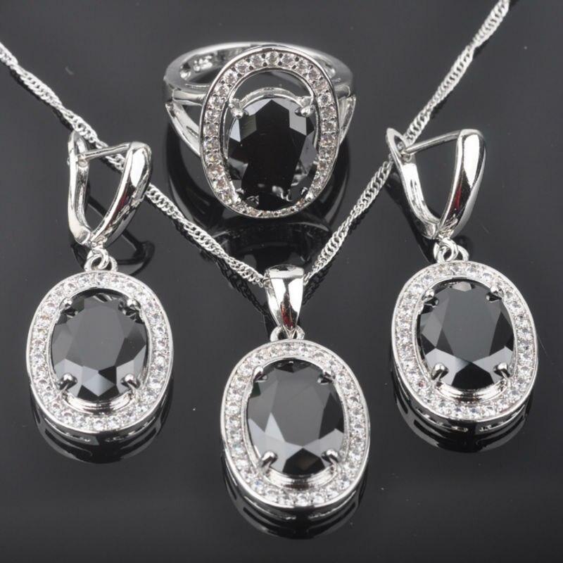 Fahoyo Schwarz Frauen 925 Silber Retro Stil Schmuck Sets Ohrringe/anhänger/halskette/ringe Freies Verschiffen Qz092 Hochzeits- & Verlobungs-schmuck