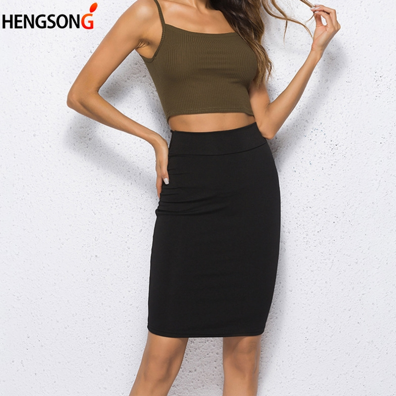 Black Solid Women Skirts Stretch Bodycon Straight Casual Work OL Office Ladies Skirt Summer Sexy Pencil Skirts Jupe Femme