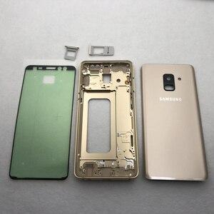 Image 2 - Per Samsung Galaxy A8 Più 2018 A730 A730F Alloggiamento Pieno Medio Frame Lunetta in metallo Housing Telaio A8 + Batteria di Vetro della Copertura posteriore