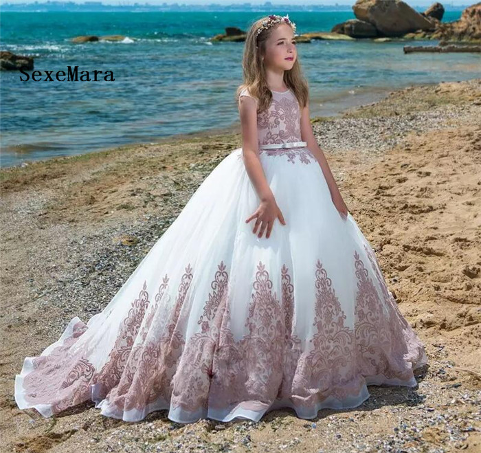 New Customized High Quality Flower Girls Dresses for Wedding Lace Beading with Long Tail Girls Pageant Gown Birthday Party Dress new high quality fashion excellent girl party dress with big lace bow color purple princess dresses for wedding and birthday