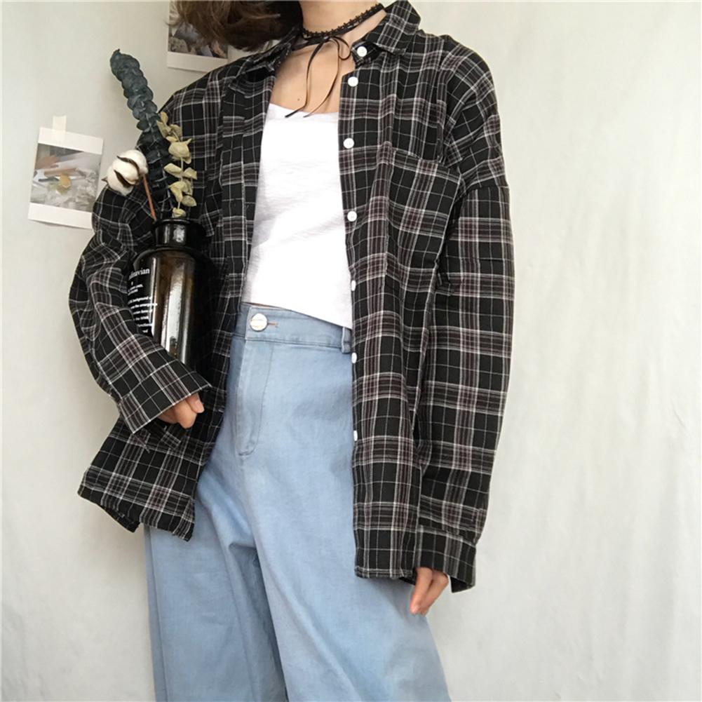 Women Plaid   Shirts   2018 Spring Long Sleeve   Blouses     Shirt   Office Lady Cotton   Shirt   Casual Loose Tops Plus Size Blusas