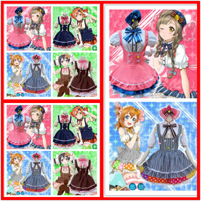 Free shipping Japanese Anime Love Live Tojo/ Umi/ Eli/ Hanayo/Nico/Rin Candy Maid Uniform Princess Lolita Dress Cosplay Costume