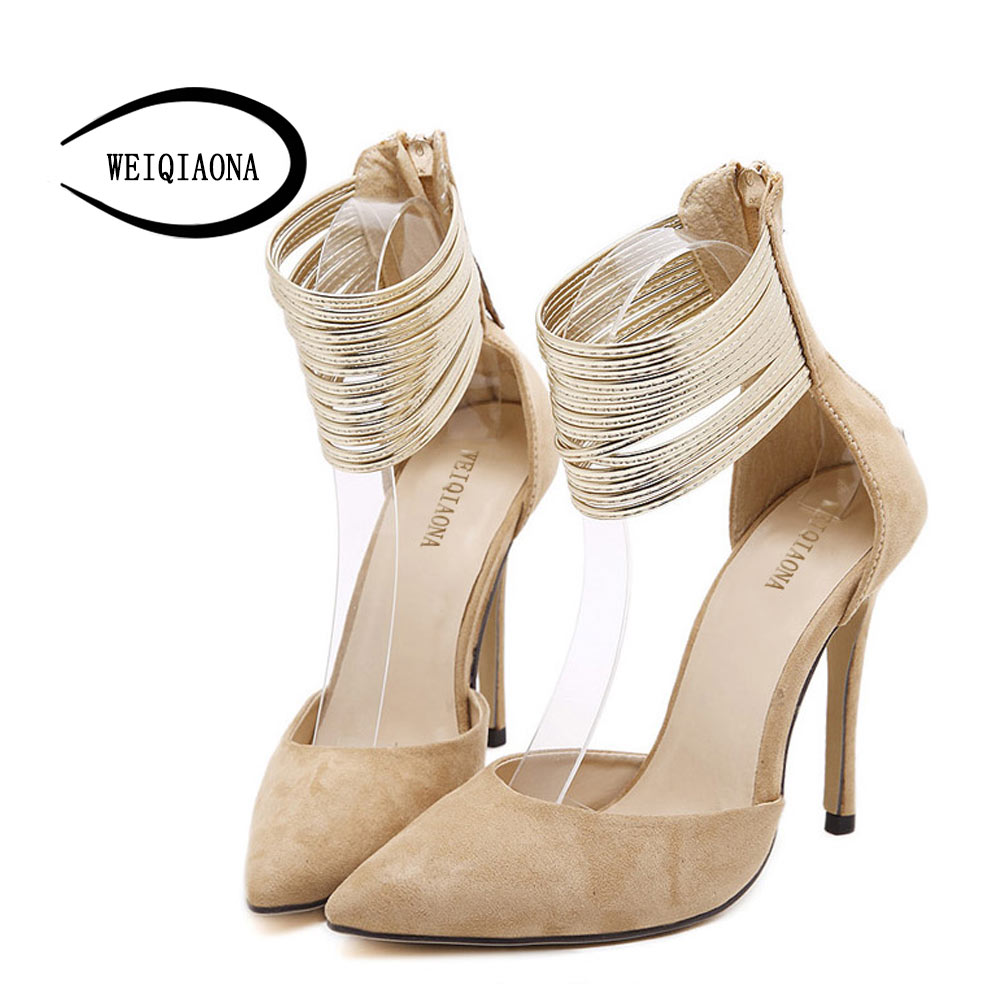 women pumps suede high-heeled pointed toe women shoes  thin heel with ankle gold Fine belts Party Shoes Lady shoes 2017 new summer women flock party pumps high heeled shoes thin heel fashion pointed toe high quality mature low uppers yc268
