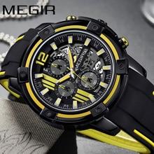 MEGIR montre bracelet de luxe pour hommes, marque supérieure, chronographe, Date automatique, Sport militaire, horloge, en caoutchouc, 2097