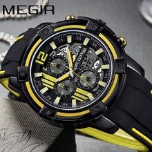 MEGIR ساعة رجالية ماركة فاخرة كرونوغراف ساعة اليد تاريخ السيارات العسكرية الرياضة ساعة بحزام مطّاطي ساعة رجالية Relogio Masculino 2097