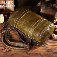 Vintage Popular Brand Designer Genuine Leather Barrel Shaped Men Shoulder Bag Casual Men Messenger Bags Soft
