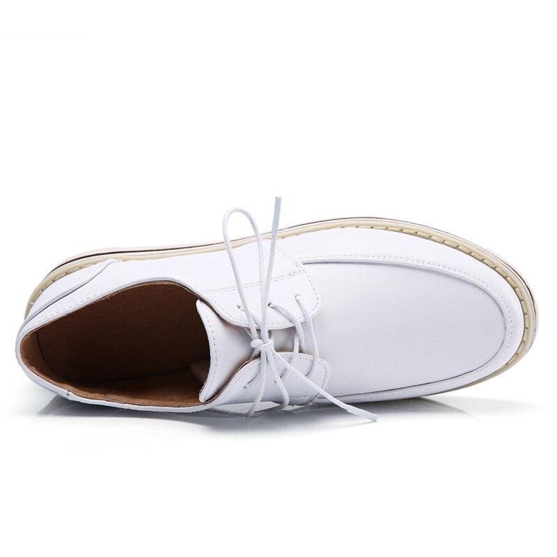 Noir Cuir Pu Oxford Pour marron Automne Printemps blanc Femmes Drkanol H1868 Rond Richelieu Bateau gris Bout Femme En Appartements Chaussures Plat TpS0qw