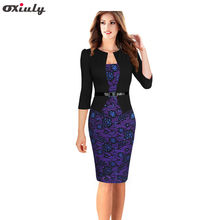 Oxiuly 2015 women plus size dresses 4XL Faux Twinset Belted Tartan Floral Lace Patchwork Business Pencil