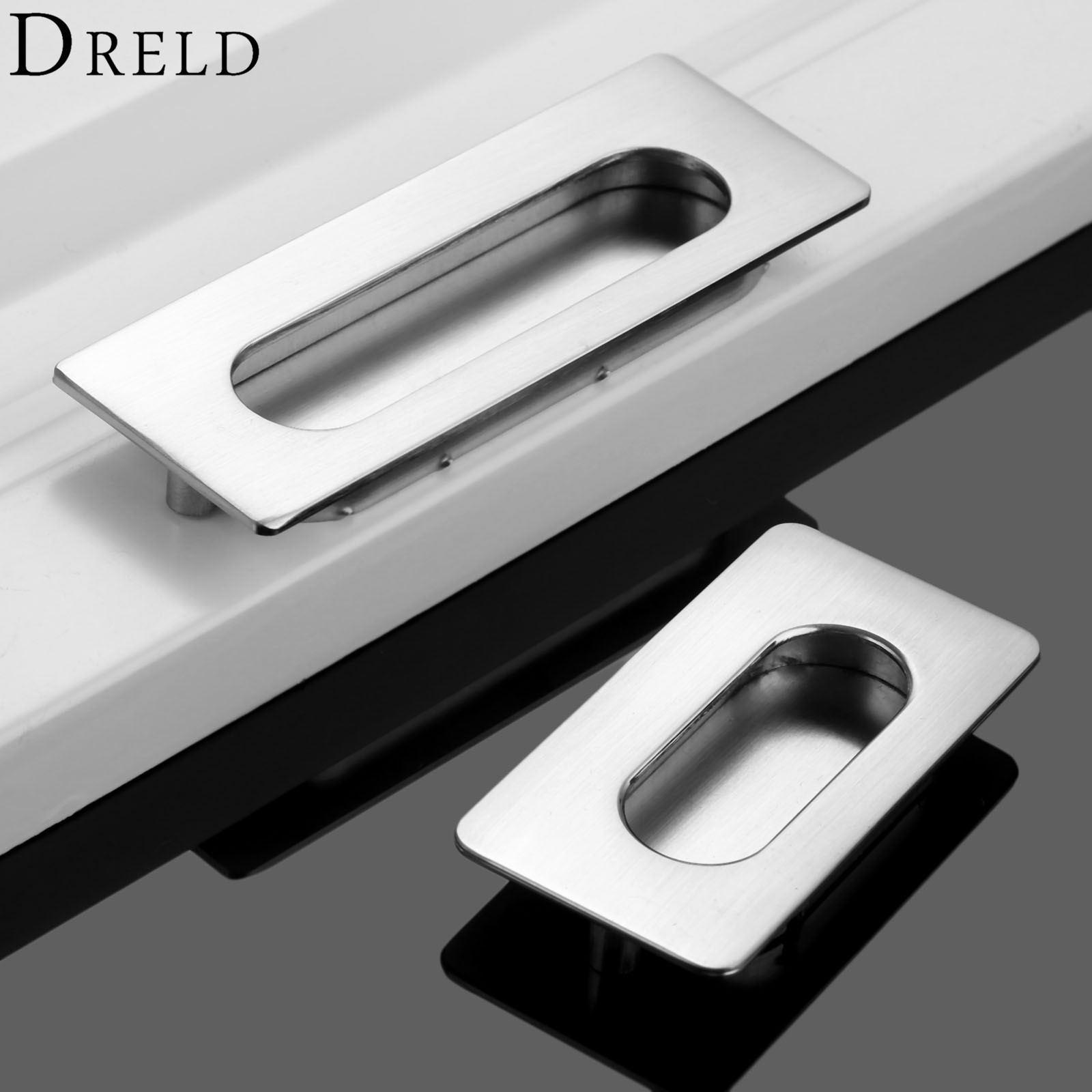 DRELD 64/96mm Hidden Furniture Handles Stainless Steel Cabinet Invisible Handle Drawer Wardrobe Knobs For Furniture Hardware