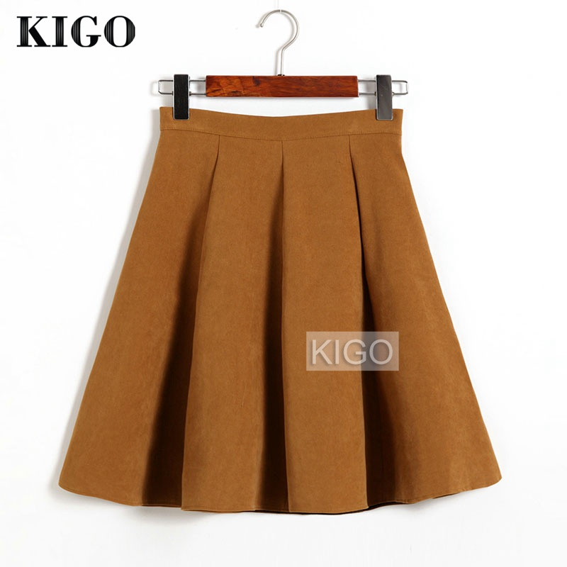 KIGO Autumn Winter Skirts Women 2018 Suede Skirt High Waist Flared Skirt Knee-Length Midi Casual Vintage Skirt Faldas KJ1065H