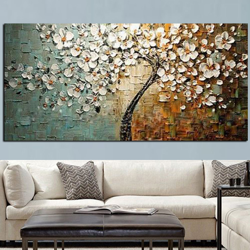 Handmade Modern Flower Tree Landscape Handpainted Abstract Oil painting palette Knife Oil Painting Wall Picture for Living Room (3)