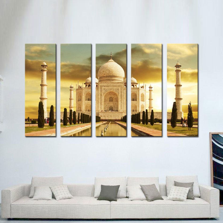 Decorative Landscape Painting 5 Panels Taj Mahal Palace In Agra ...