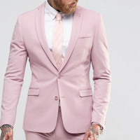 New Arrival Light Pink Men Suit Slim Party Dress Groomsmen Tuxedo For Beach Wedding Young Mens suits Work Wear(Jacket+Pants+Tie)