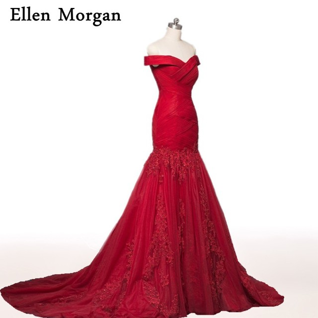 Burgundy Mermaid Evening Dresses 2018 Off shoulder Beautiful Prom Gowns For Women Wear Formal Elegant Party Lace Red Carpet