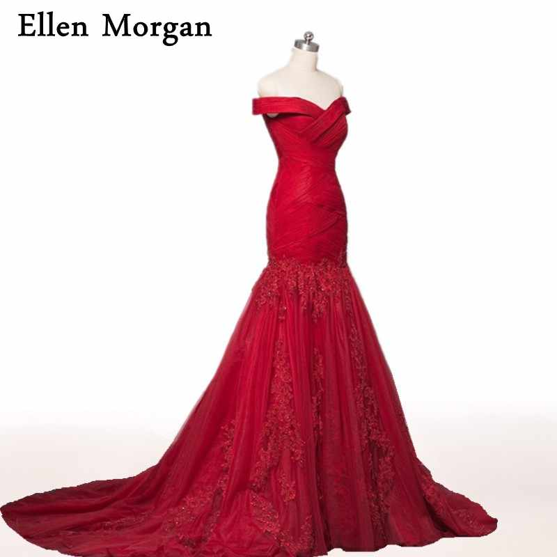 8c8b4fe5dc6 Burgundy Mermaid Evening Dresses 2019 Off shoulder Beautiful Prom Gowns For  Women Wear Formal Elegant Party