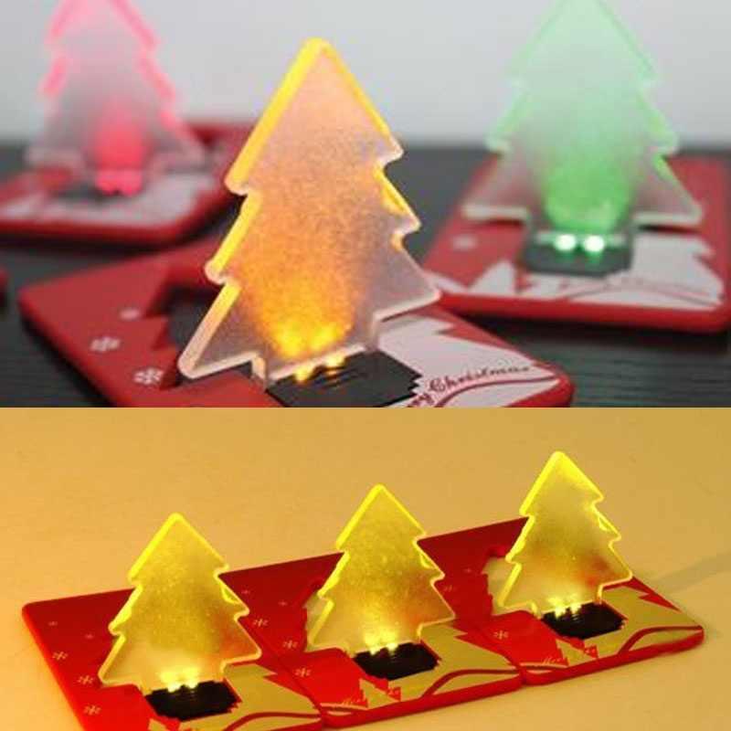 Светодиодный фонарь для кредитных карт, Рождественское украшение, карманная Складная форма рождественской елки, нежная карточка