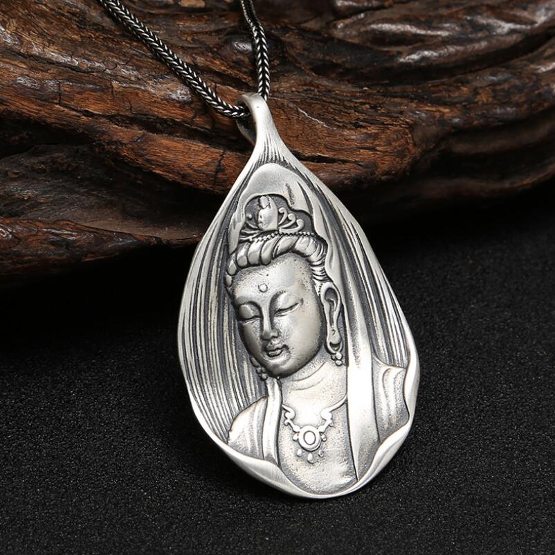 925 sterling silver religious jewelry handmade vintage guanyin buddha pendant (FGL)925 sterling silver religious jewelry handmade vintage guanyin buddha pendant (FGL)