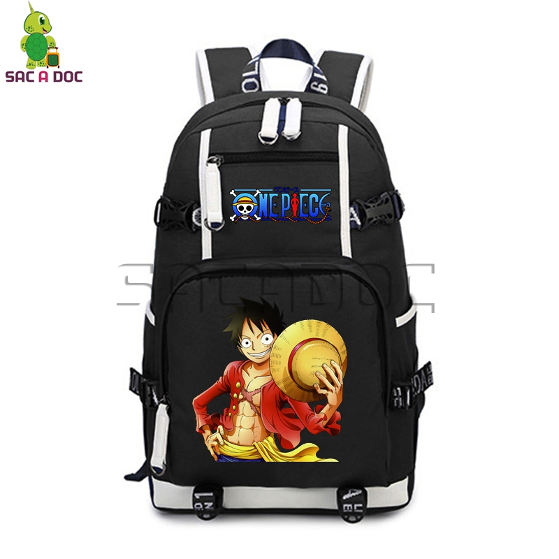 Anime One Piece Backpack Canvas Backpack For Teenagers Boys Girls Luffy Chopper Printing School Bags Casual Travel Daypacks