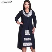 2018 Patchwork Fake Two Pieces Dress Women Plus Large Big Size Summer Office Dress 4XL Vintage Print Midi Dress Vestido 5XL 6XL