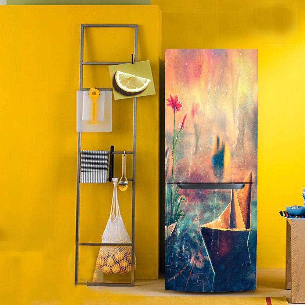 yazi PVC Protect Paper Fridge Door Cover Wallpaper Refrigerator ...