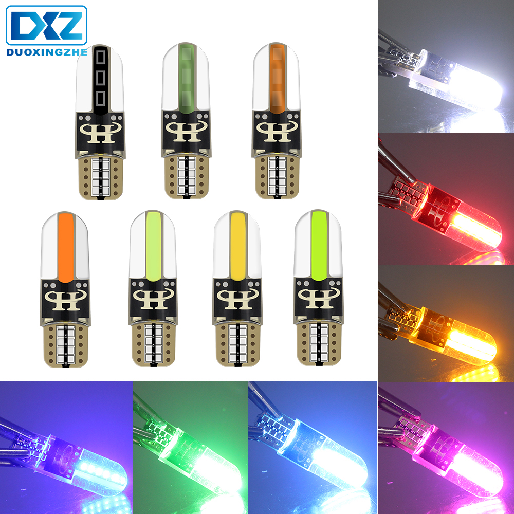 DXZ 1X W5w 12v T10 LED Canbus Auto Car Interior Light Silica Gel COB 194 168 Wedge Clearance Turn Signal Reading Light Ice Blue